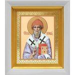 Святитель Спиридон Тримифунтский, икона в белом киоте 14*16 см - Иконы