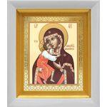 Феодоровская икона Божией Матери, белый киот 14*16 см - Иконы