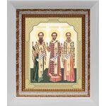 Собор трех святителей, икона в белом киоте 14*16 см - Иконы
