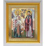Священномученик Киприан и мученица Иустина, белый киот 19*22 см - Иконы