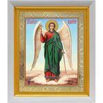 Ангел Хранитель на голубом фоне, икона в белом киоте 19*22 см - Иконы