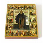 Преподобный Авраамий Ростовский с житием, икона на доске 13*16,5 см - Иконы