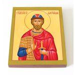 Благоверный князь Александр Невский, икона на доске 13*16,5 см - Иконы