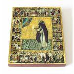 Преподобный Варлаам Хутынский с житием, икона на доске 13*16,5 см - Иконы