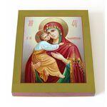Владимирская икона Божией Матери, печать на доске 13*16,5 см - Иконы