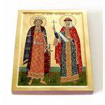 Равноапостольные Владимир и Ольга, икона на доске 13*16,5 см - Иконы