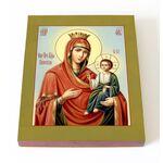 Иверская икона Божией Матери, печать на доске 13*16,5 см - Иконы