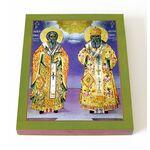 Святители Аверкий Иерапольский и Леонтий Иерусалимский, доска 13*16,5 - Иконы