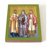Мученики Мануил, Савел и Исмаил, икона на доске 13*16,5 см - Иконы