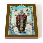 Святитель Николай Чудотворец на зимнем фоне, икона на доске 13*16,5 см - Иконы