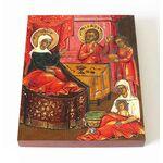 Рождество святителя Николая Чудотворца, икона на доске 13*16,5 см - Иконы