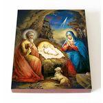 Рождество Христово, печать на доске 13*16,5 см - Иконы