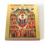 Собор покровителей воинства Российского, икона на доске 13*16,5 см - Иконы