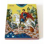 Мученик Трифон Апамейский на коне, икона на доске 13*16,5 см - Иконы