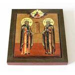 Преподобные Зосима и Савватий Соловецкие, икона на доске 14,5*16,5 см - Иконы