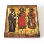 Мученики Мина, Ермоген и Евграф Александрийские, доска 14,5*16,5 см - Иконы