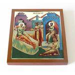 Рождество святителя Николая Чудотворца, икона на доске 14,5*16,5 см - Иконы