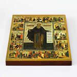 Преподобный Авраамий Ростовский с житием, икона на доске 20*25 см - Иконы
