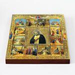 Преподобный Серафим Саровский с житием, икона на доске 20*25 см - Иконы
