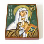 Преподобная Гертруда Нивельская, икона на доске 8*10 см - Иконы