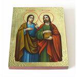 Мученики Косма и Дамиан Римские, икона на доске 8*10 см - Иконы