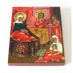 Рождество святителя Николая Чудотворца, икона на доске 8*10 см - Иконы