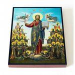 Спас с Вологодскими святыми, икона на доске 8*10 см - Иконы