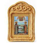 Петр и Феврония с Муромской иконой Божией Матери, икона в резной рамке - Иконы