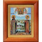 Петр и Феврония с Муромской иконой Божией Матери, рамка 8*9,5 см - Иконы