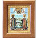 Петр и Феврония с Муромской иконой Божией Матери, рамка 14,5*16,5 см - Иконы
