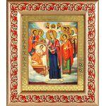 """Икона Богородицы """"Целительница"""" и святые врачеватели, рамка с узором - Иконы"""