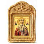 Святитель Николай Чудотворец в красном облачении, резная рамка - Иконы