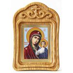 Казанская икона Божией Матери в резной деревянной рамке - Иконы