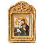 Благоверные князья Петр и Феврония с голубем, икона в резной рамке - Иконы