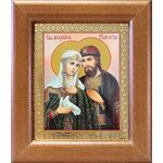 Благоверные князья Петр и Феврония с голубем, широкая рамка 14,5*16,5 - Иконы