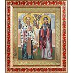 Священномученик Киприан и мученица Иустина, рамка с узором 19*22,5 см - Иконы