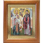 Священномученик Киприан и мученица Иустина, икона в рамке 19*22,5 см - Иконы