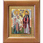 Священномученик Киприан и мученица Иустина, икона в рамке 14,5*16,5 см - Иконы