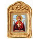 """Икона Божией Матери """"Неупиваемая Чаша"""", в резной деревянной рамке - Иконы"""