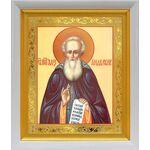 Преподобный Александр Свирский, икона в белом киоте 19*22 см - Иконы