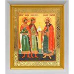 Благоверные князья Борис, Глеб и Роман, икона в белом киоте 19*22 см - Иконы