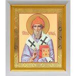 Святитель Спиридон Тримифунтский, белый киот 19*22 см - Иконы
