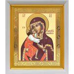 Феодоровская икона Божией Матери, белый киот 19*22 см - Иконы