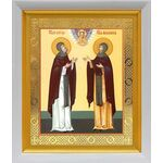 Благоверные князья Петр и Феврония, икона в белом киоте 19*22 см - Иконы