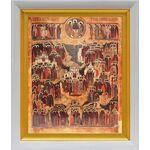 Образ всех святых, в Земле Российской просиявших, белый киот 19*22см - Иконы