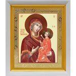 Тихвинская икона Божией Матери, белый киот 19*22 см - Иконы