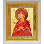 """Икона Божией Матери """"Умягчение злых сердец"""", в белом киоте 19*22 см - Иконы"""