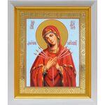"""Икона Божией Матери """"Умягчение злых сердец"""", белый киот 19*22 см - Иконы"""