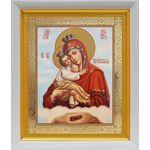 Почаевская икона Божией Матери, в белом киоте 19*22 см - Иконы