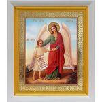 Ангел Хранитель с душой человека, икона в белом киоте 19*22 см - Иконы